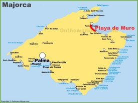 Playa de Muro location on the Majorca map
