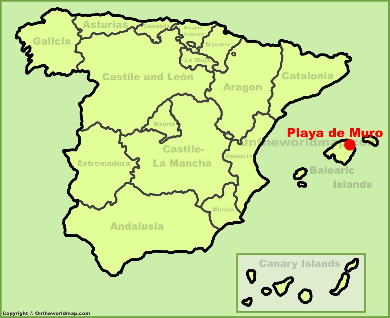 Playa de Muro location on the Spain map