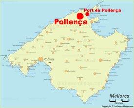 Pollensa en el mapa de Mallorca