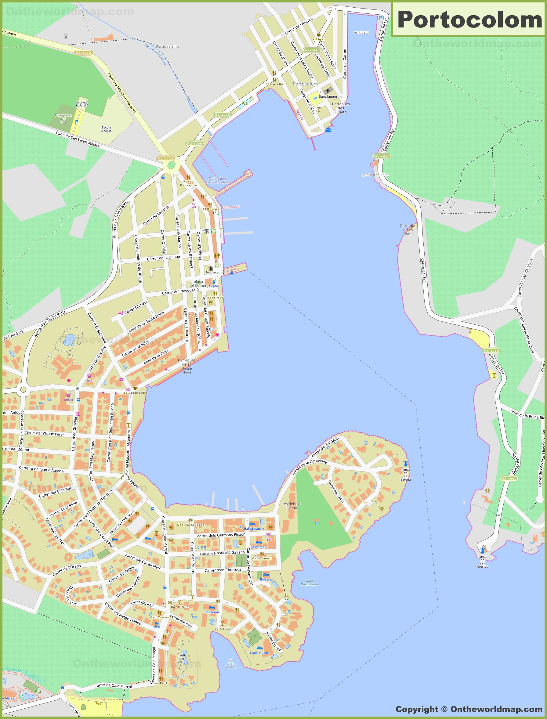 Detailed map of Portocolom