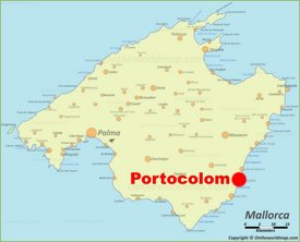 Portocolom location on the Majorca map