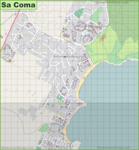 Large detailed map of Sa Coma
