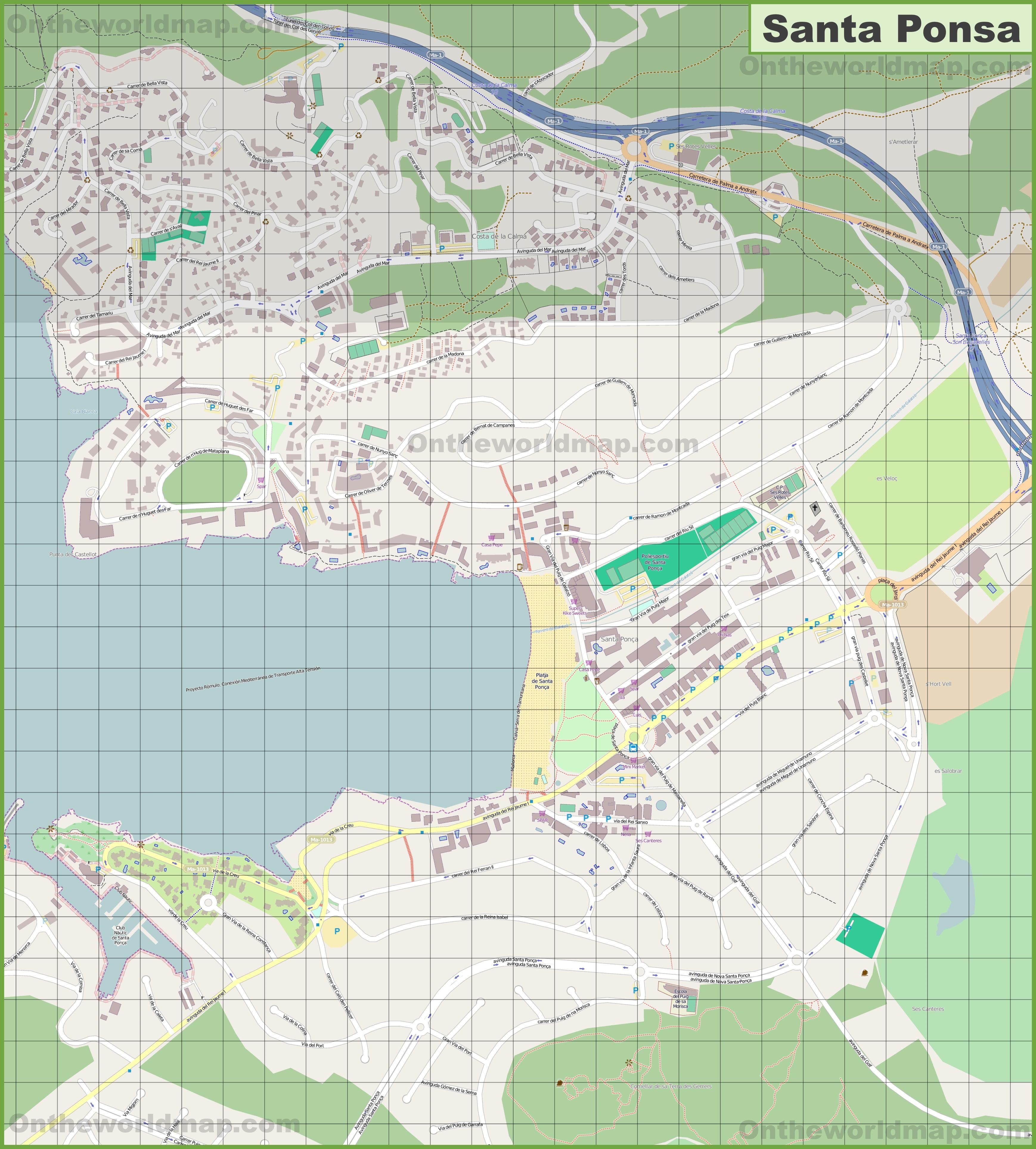 Large detailed map of Santa Ponsa