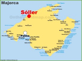 Soller location on the Majorca map