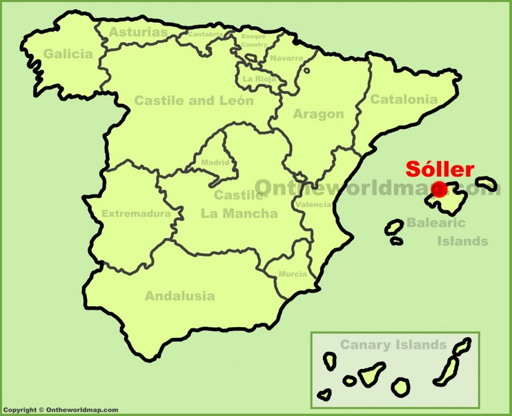 Soller location on the Spain map
