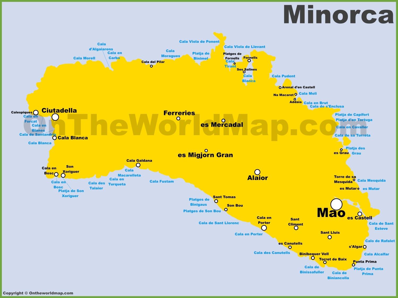 Map Of Menorca Minorca Maps | Balearic Islands, Spain | Map of Minorca (Menorca) Map Of Menorca