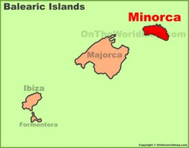 Minorca location on the Balearic Islands map