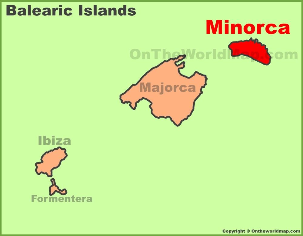 Minorca location on the Balearic Islands map