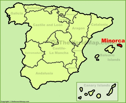 Minorca Location Map