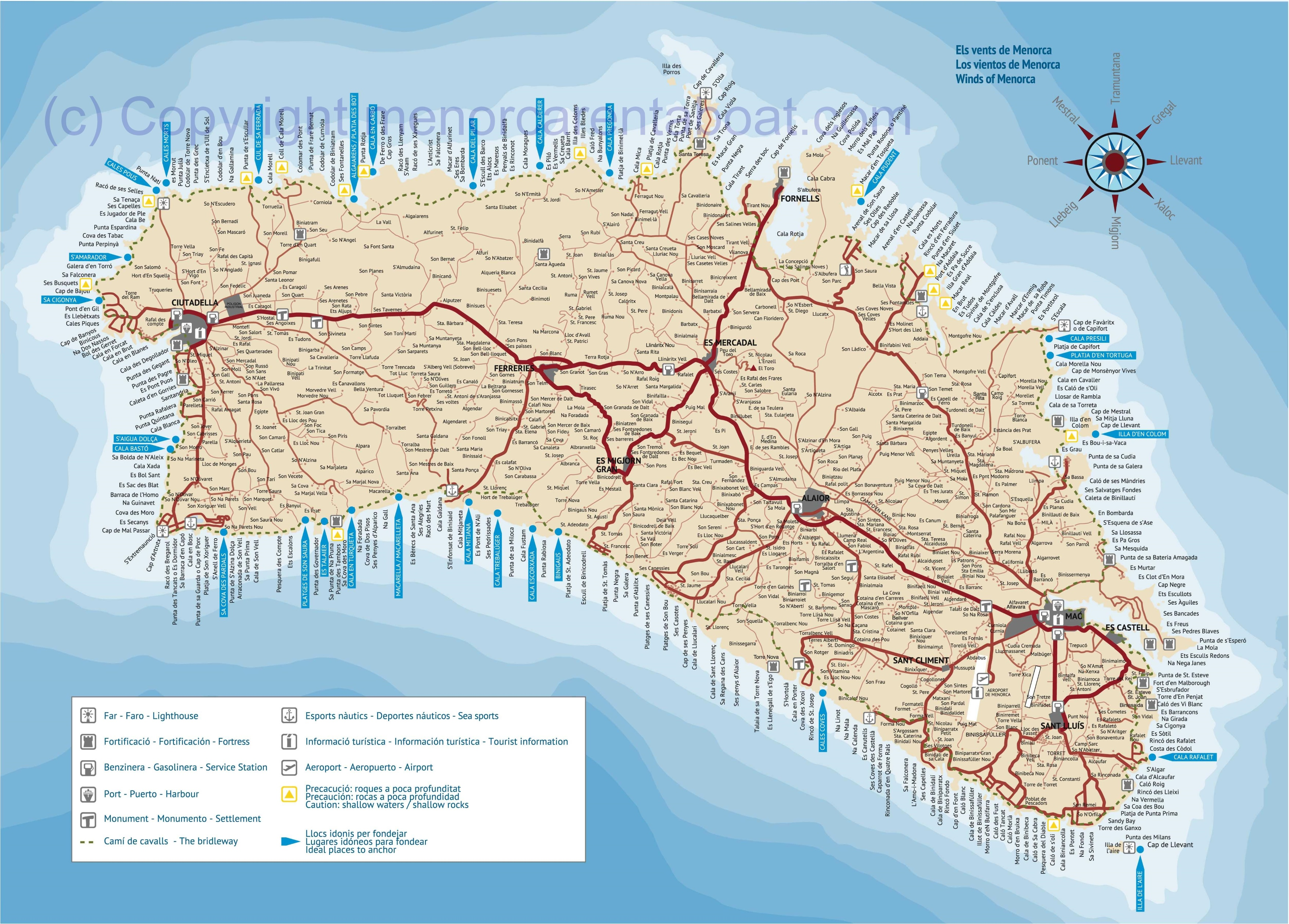 Minorca towns and vilages map
