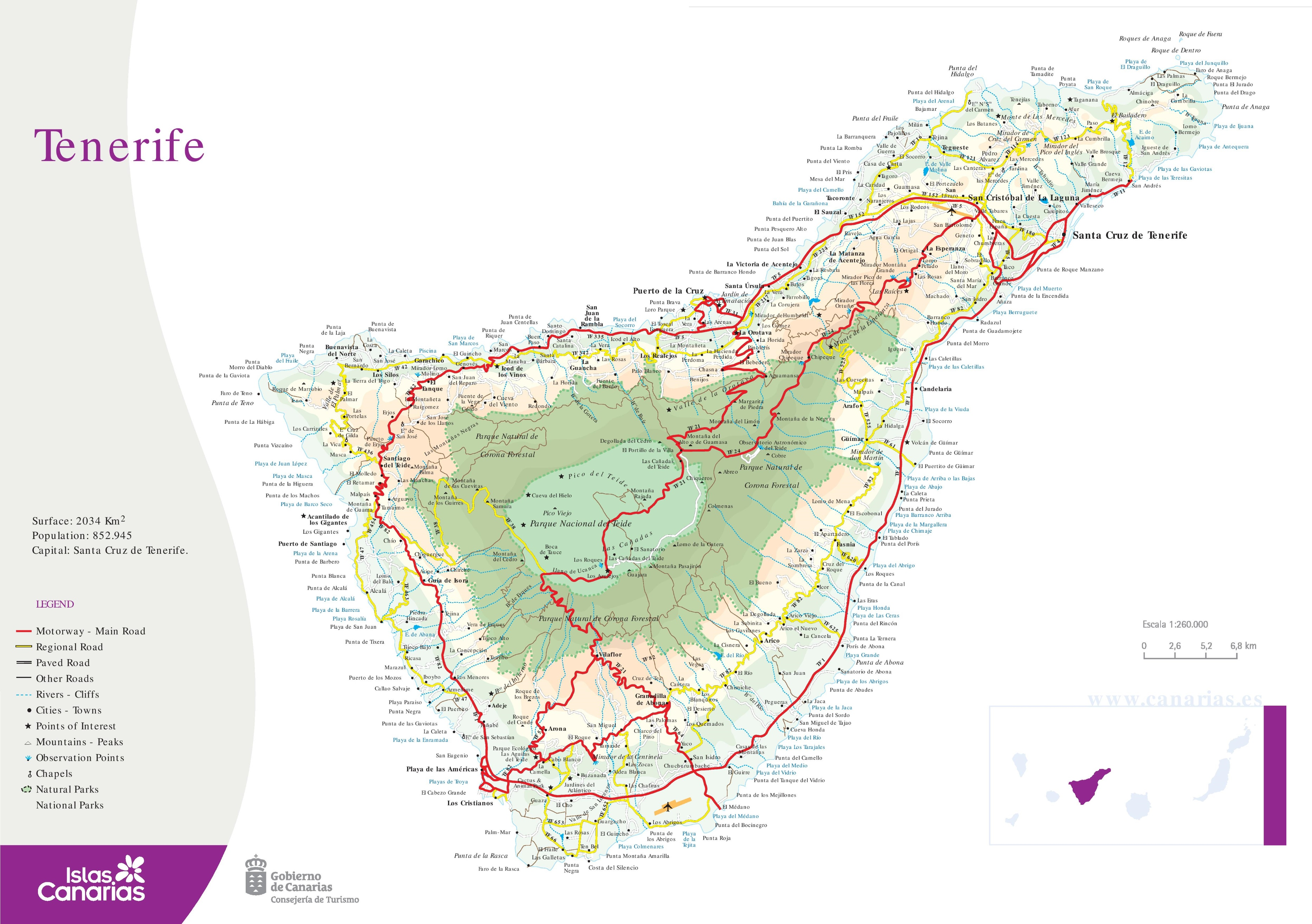 Map Of Spain Tenerife.Large Detailed Map Of Tenerife
