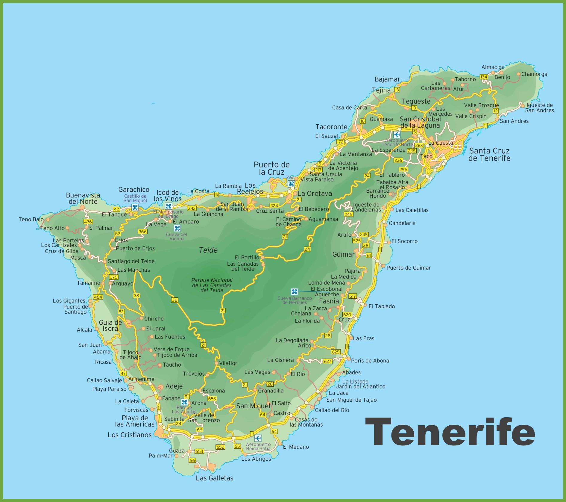 Tenerife On Map Map of Tenerife island Tenerife On Map