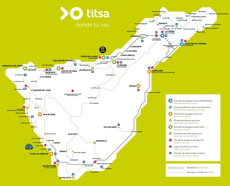 Tenerife bus map