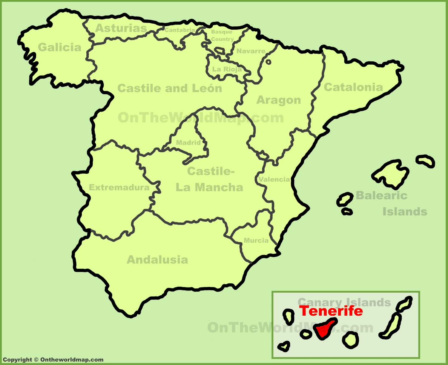 Map Of Spain Tenerife.Tenerife Location On The Spain Map