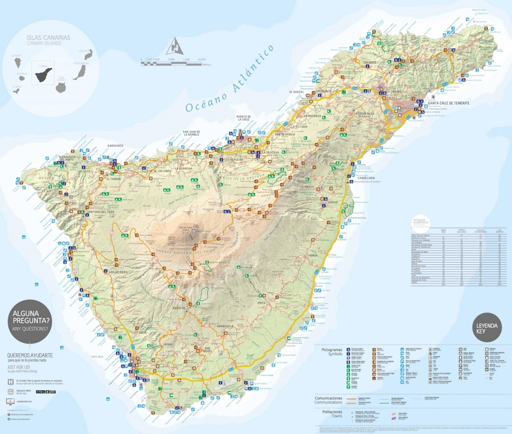Tenerife resorts and beaches map