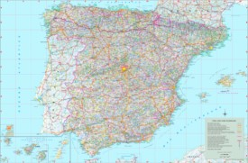 Large detailed map of Spain with cities and towns