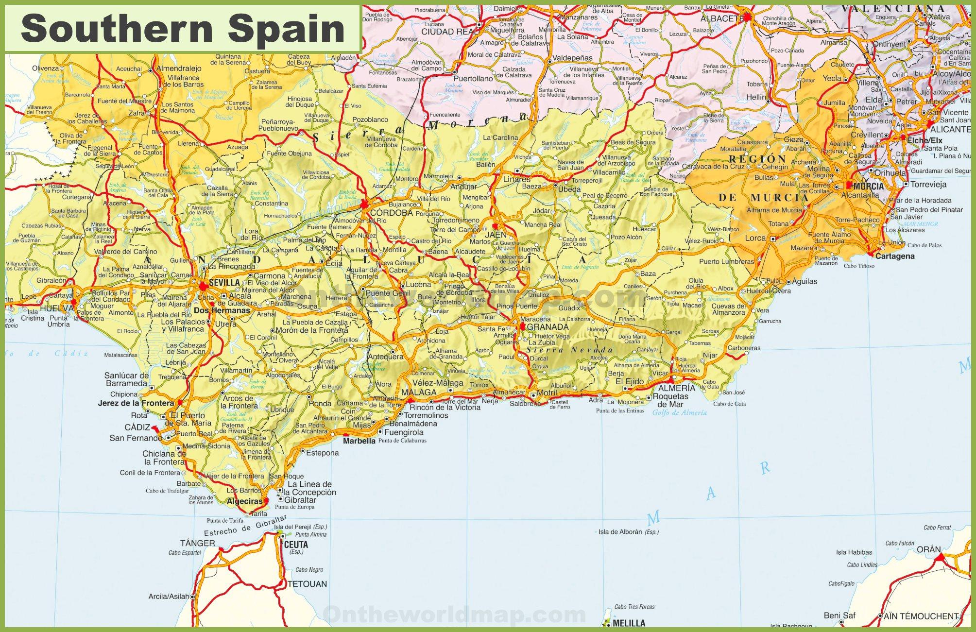 Map Of Southern Spain Map of Southern Spain