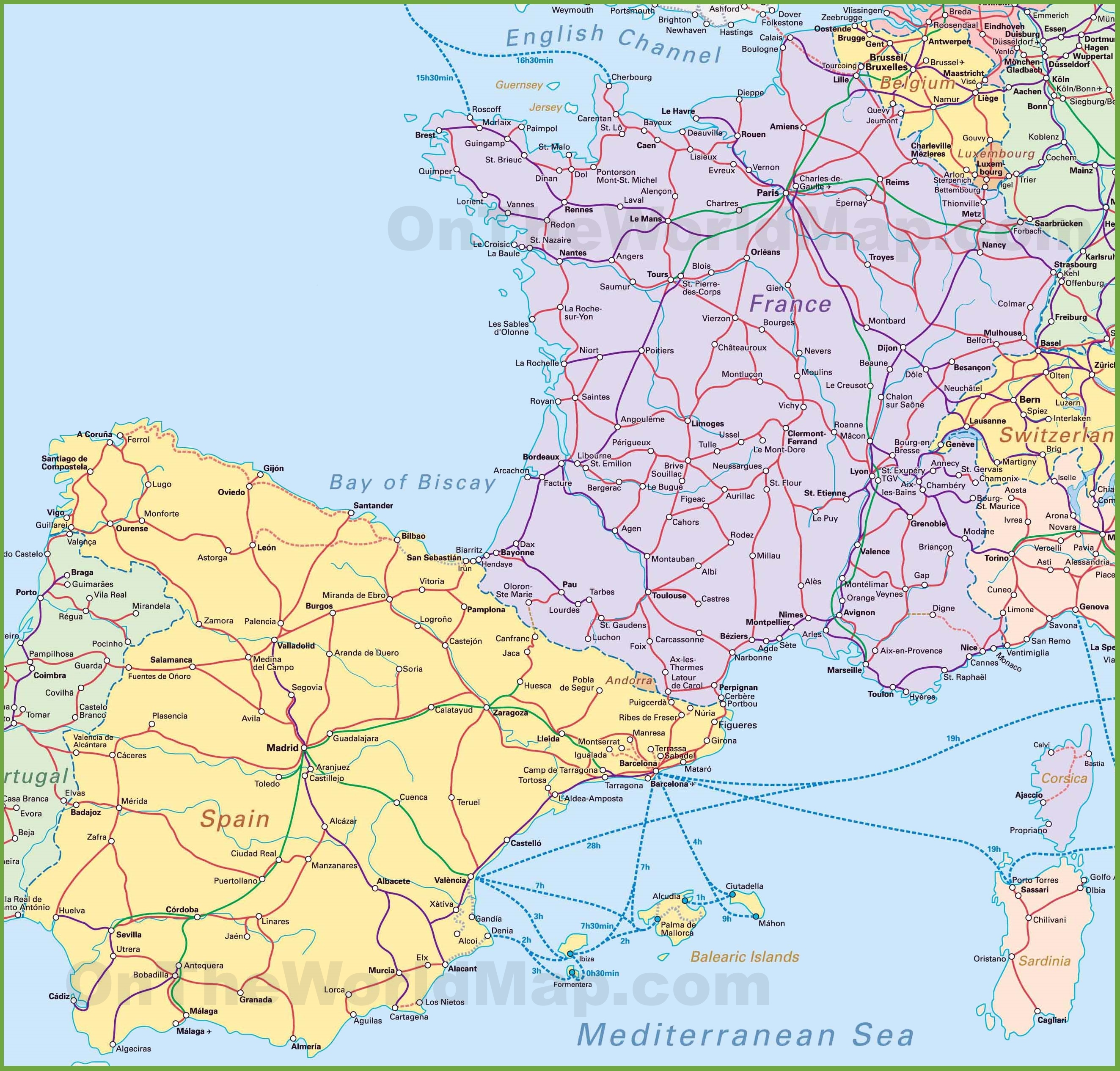 Map Of Spain And France - Map of france and spain