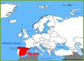 Spain location on the Europe map