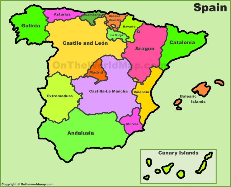 Spain Autonomous communities maps