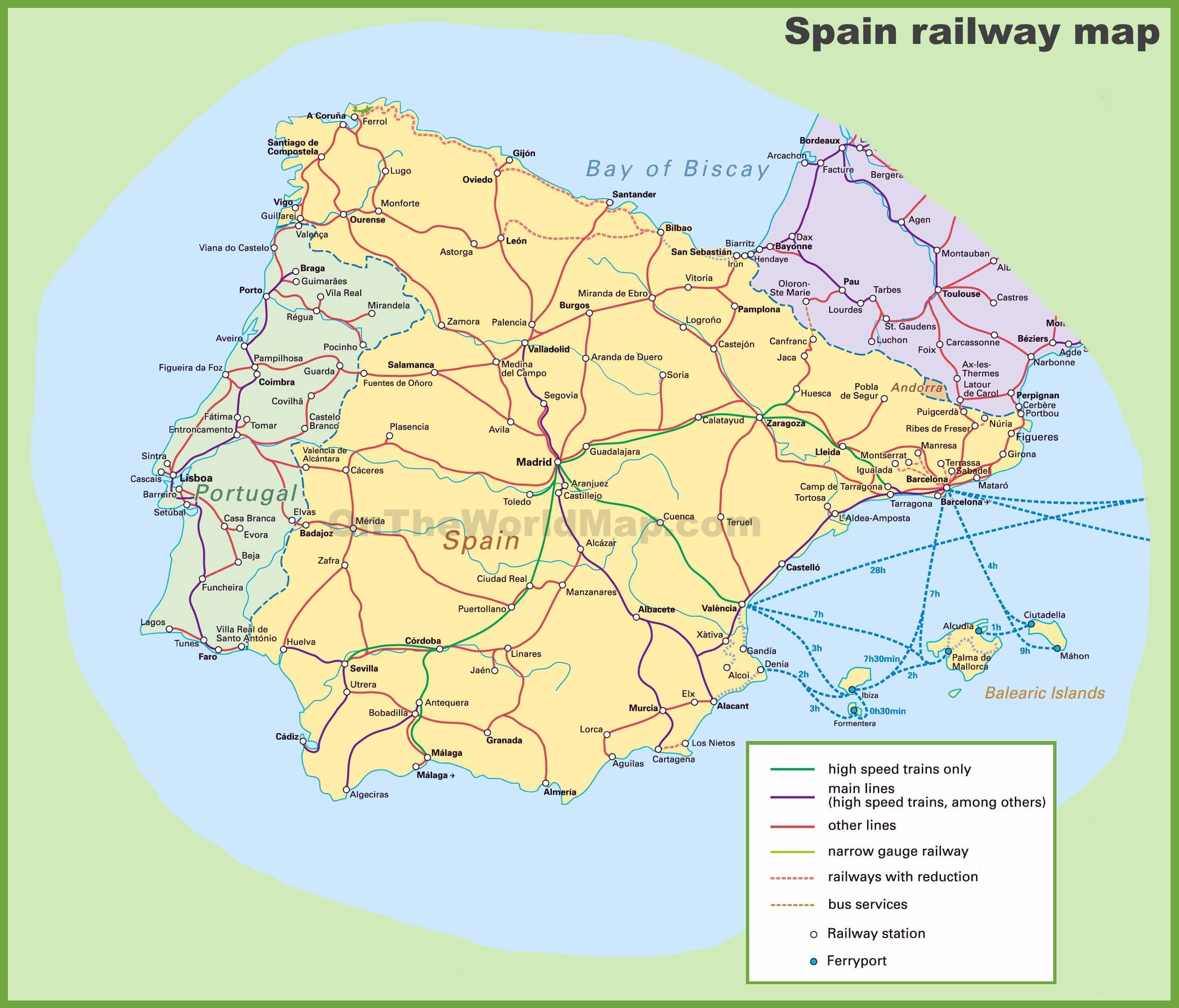 Printable Map Of Spain.Spain Railway Map