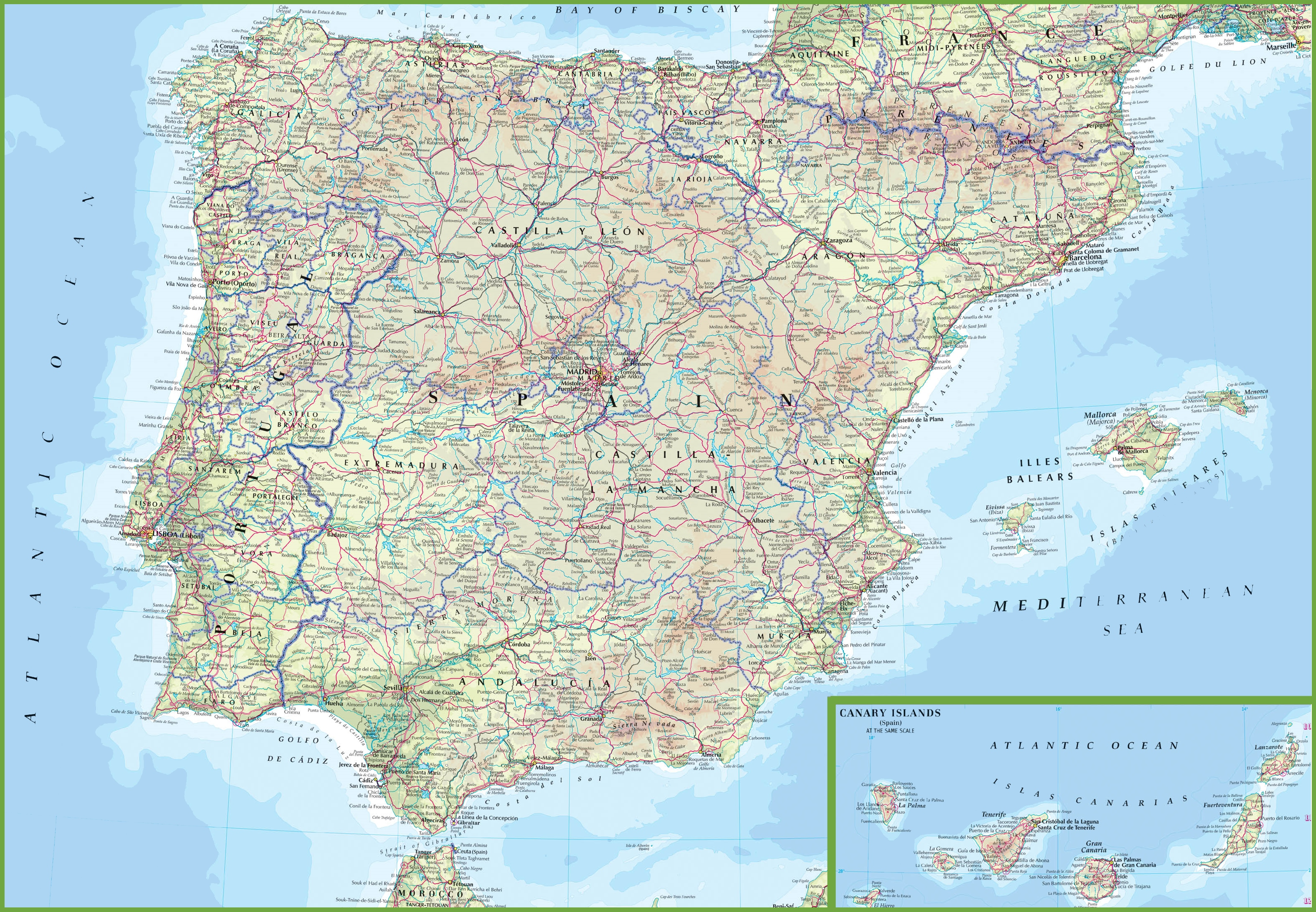 Printable Map Of Spain.Spain Road Map