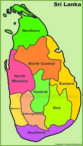 Administrative divisions map of Sri Lanka