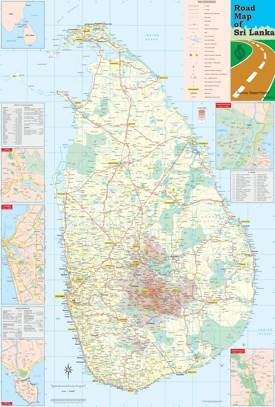 Large detailed road map of Sri Lanka