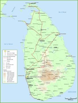 Sri Lanka physical map