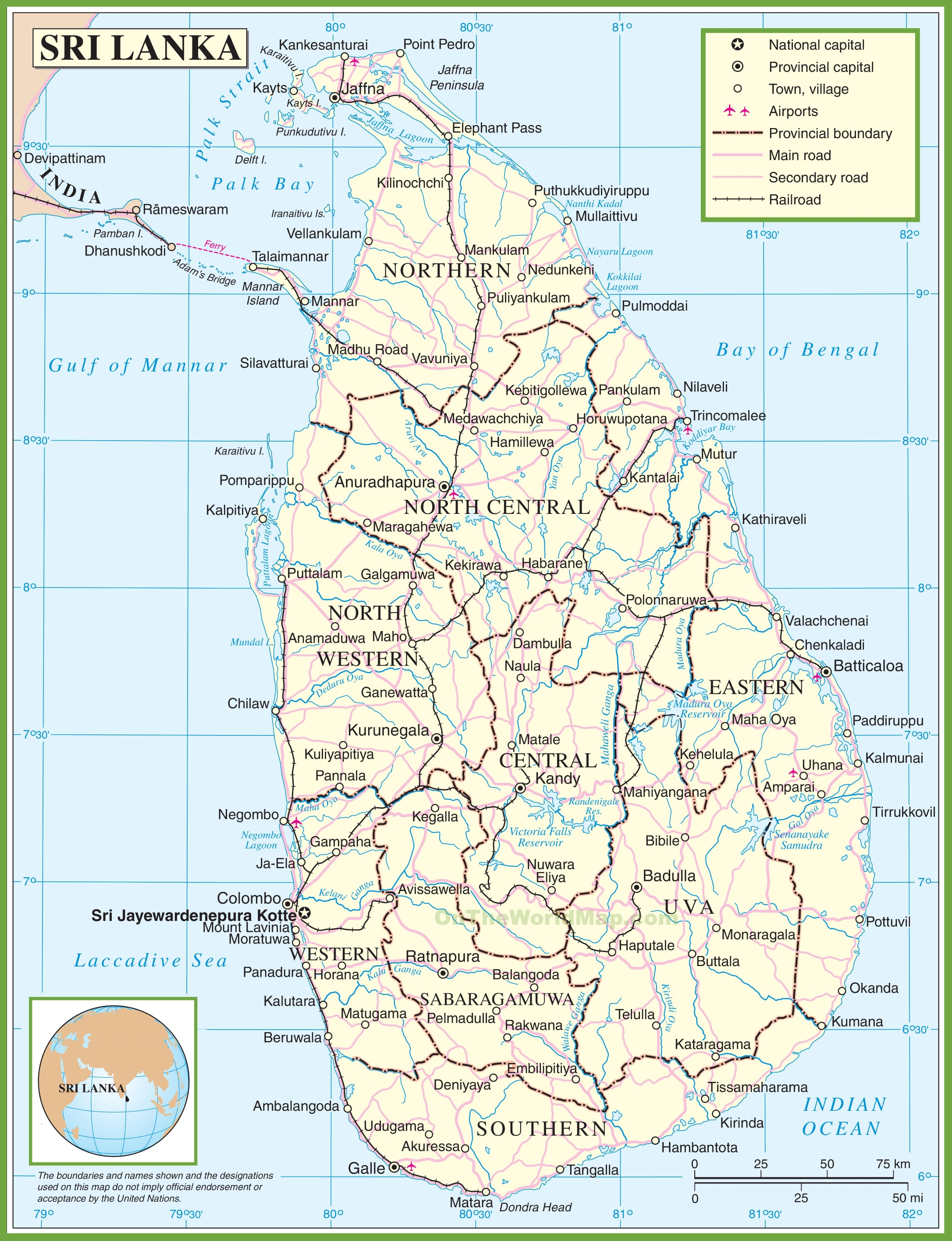 Sri Lanka Political Map.Sri Lanka Political Map