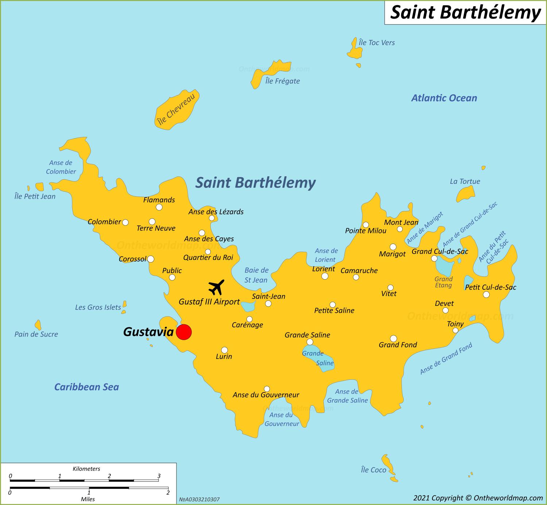Map of Saint Barthélemy