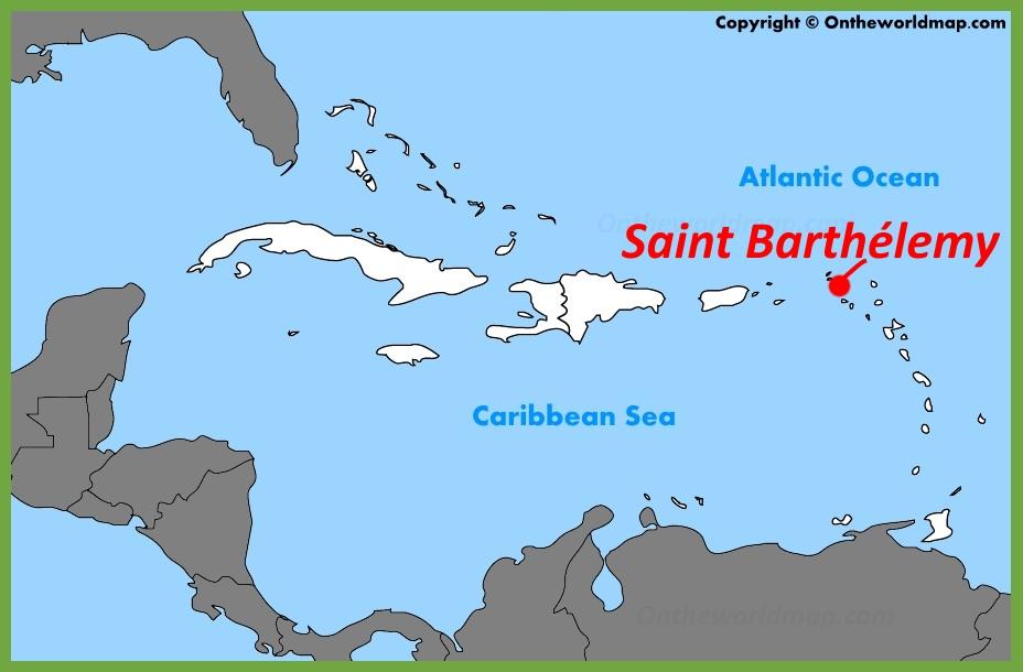 Saint Barthélemy location on the Caribbean Map
