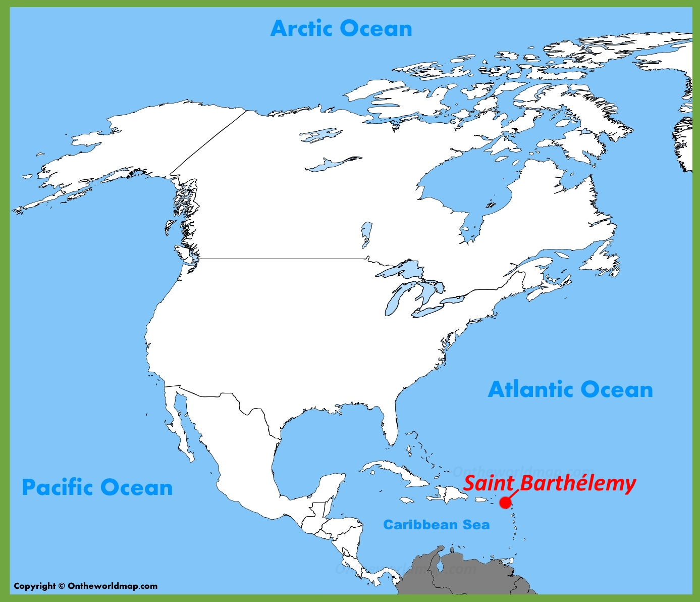 Saint Barthélemy location on the North America Map