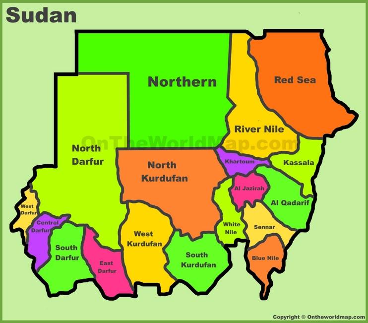 Administrative divisions map of Sudan