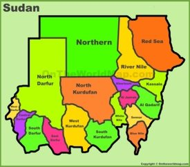 Administrative divisions map of Sudan