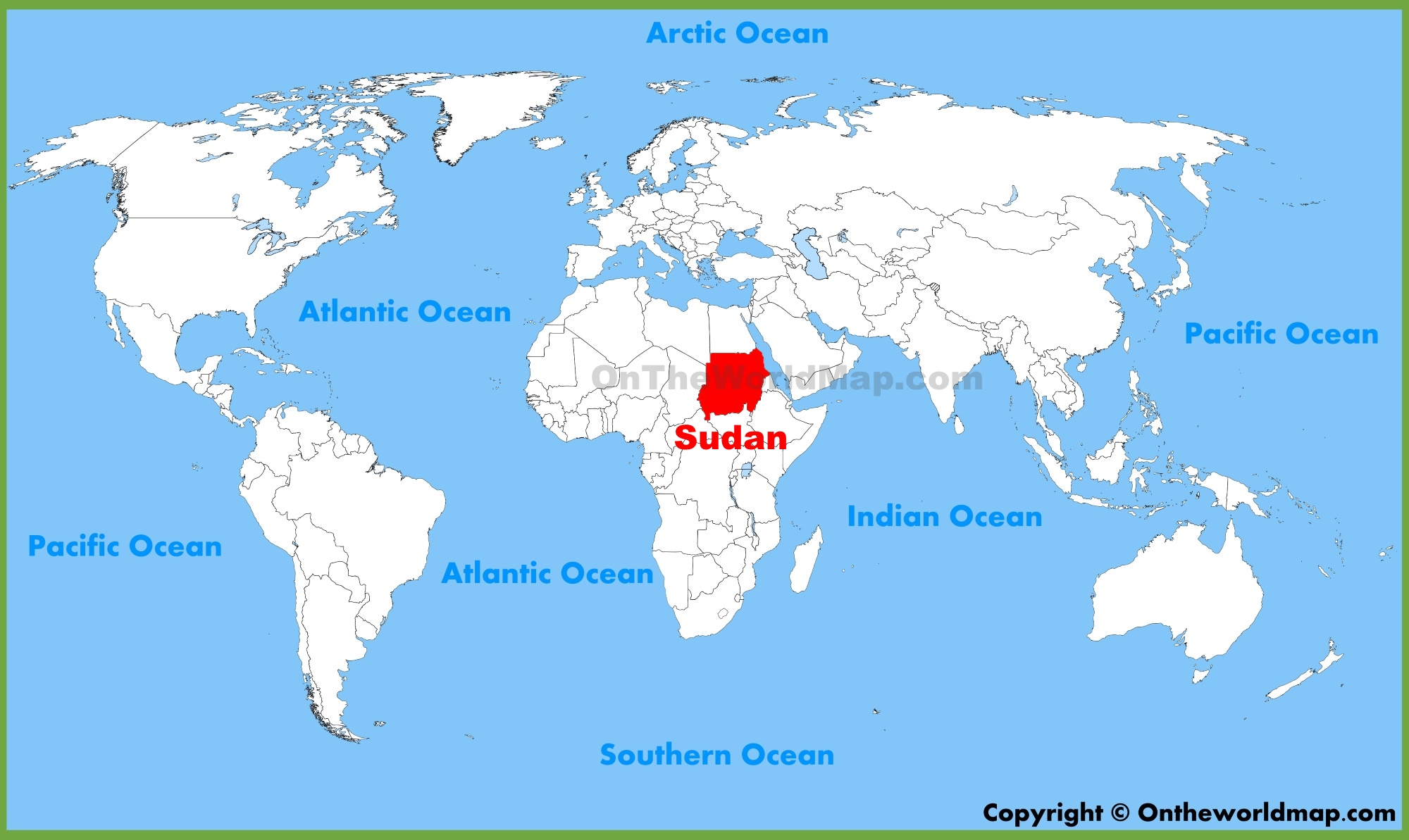 Sudan Location On The World Map - Sudan map