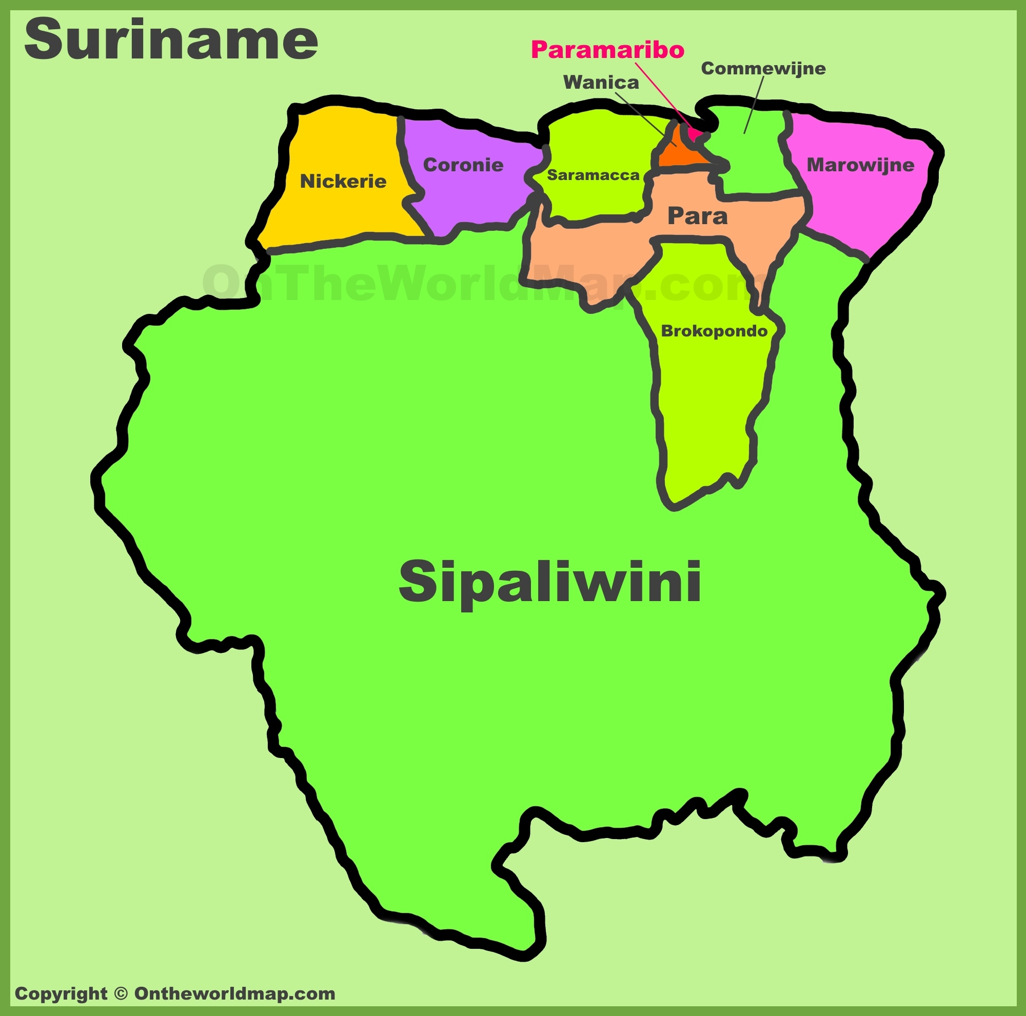 Map Of Suriname Administrative divisions map of Suriname