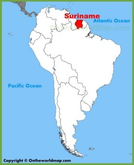 Suriname location on the South America map