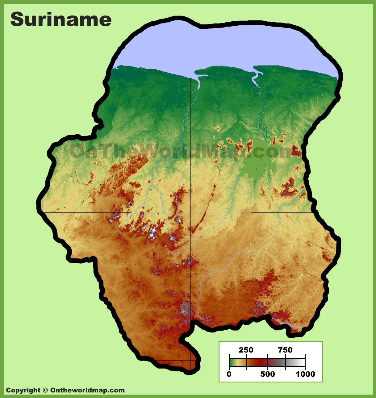 Suriname Physical Map - Where is suriname on the map