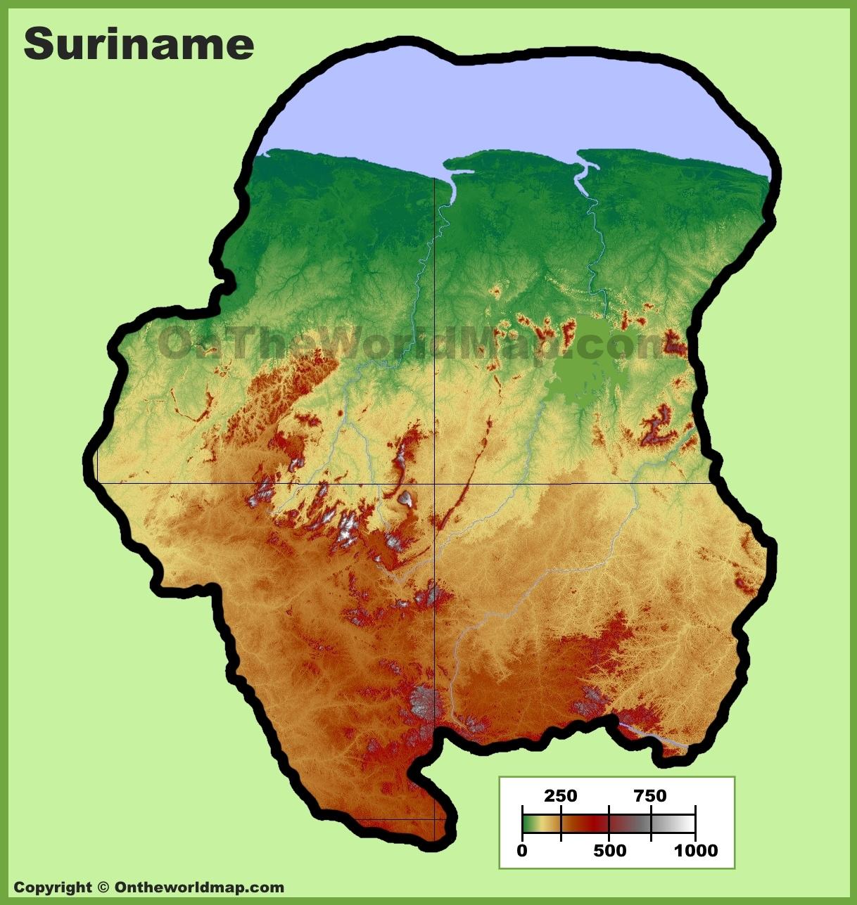 Suriname Physical Map - Suriname map