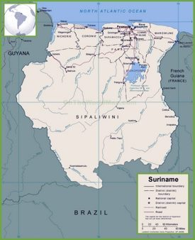 Suriname political map