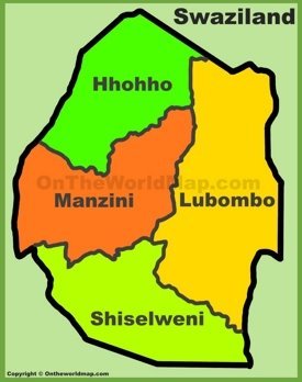 Administrative divisions map of Eswatini (Swaziland)
