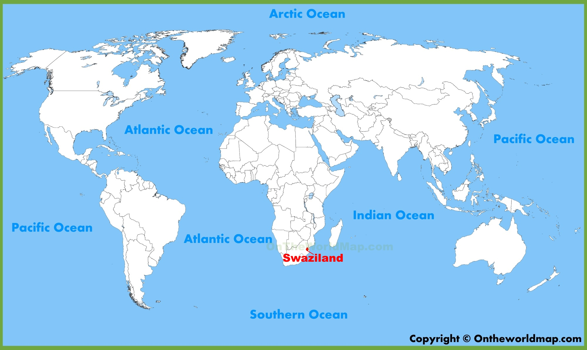 Swaziland location on the World Map