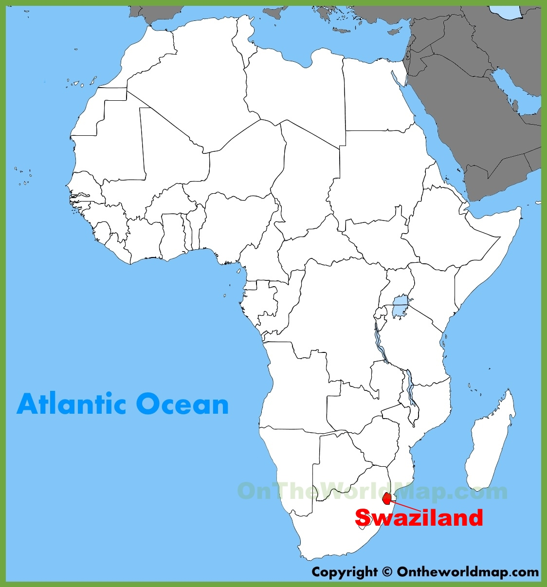 Swaziland Location On The Africa Map - Swaziland map