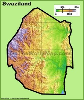 Eswatini (Swaziland) physical map