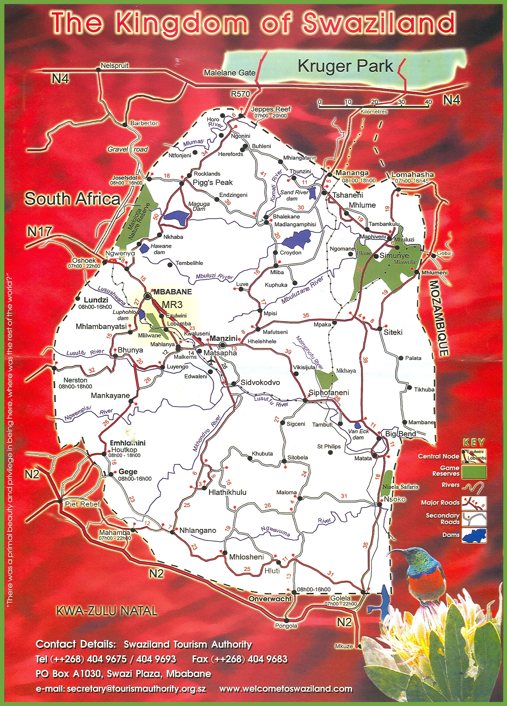 Swaziland Travel Map - Swaziland map
