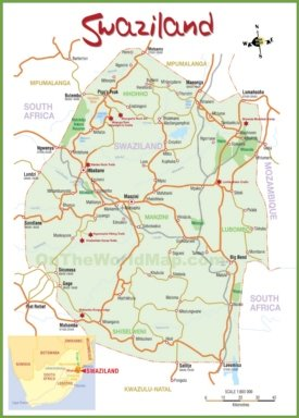Tourist map of Swaziland
