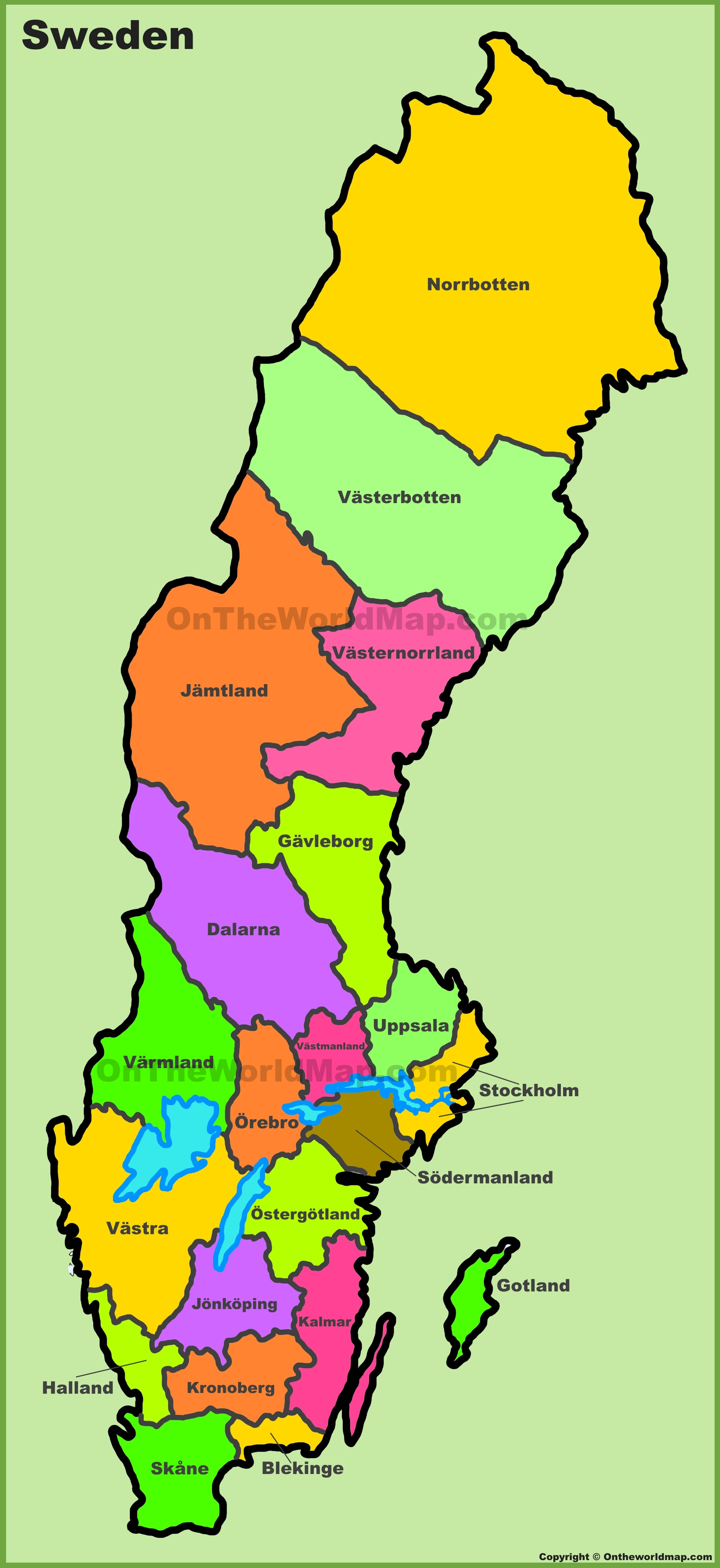 Map Of Sweden Administrative divisions map of Sweden Map Of Sweden