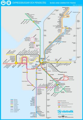 Gothenburg bus and train map