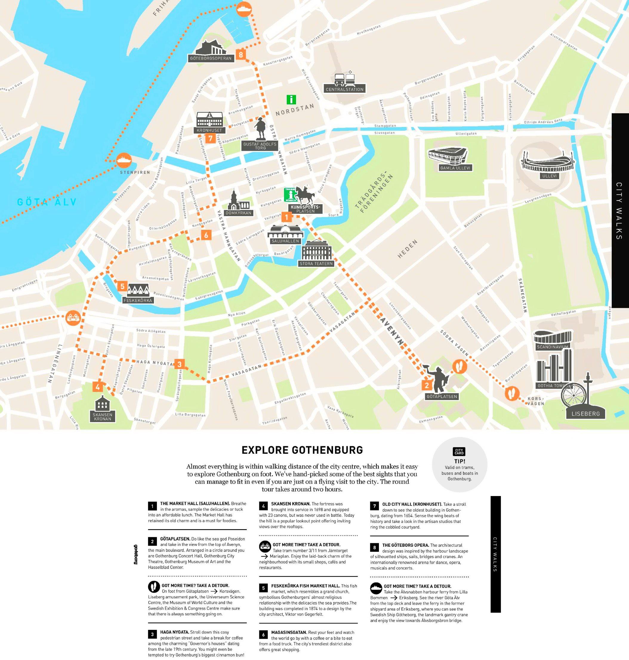 Gothenburg walk map on